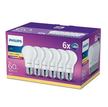 Poza cu Set 6 becuri LED Philips 8W A60 E27 2700K 806LM PS03418