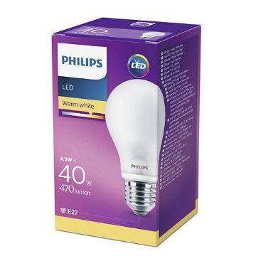 Poza cu Bec LED Philips standard 4.5W E27 A60 lumina calda 230V ND
