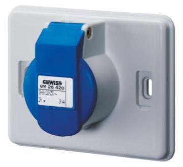 Poza cu Priza industriala Gewiss 16A, 2P+E, 220V IEC309, IP44, GW26420