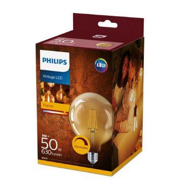 Poza cu Bec LED Philips Clasic 8W E27 G120 Gold forma glob 630LM PS03098