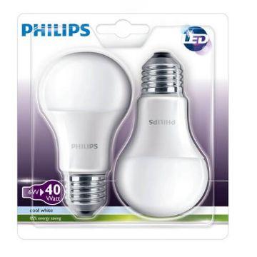 Poza cu Bec LED Philips standard 6W E27 CW 230V A60 FR 2BC/6, 871869650980700